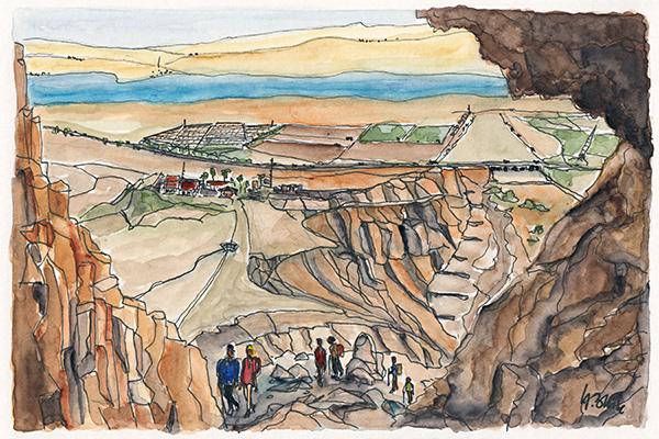 Blick aus einer Höhle in Qumran zum Toten Meer